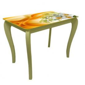 Стол обеденный стеклянный на деревянных ножках Классик 034 фотопечать 10 мм