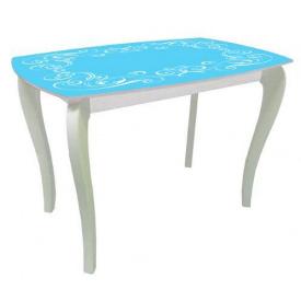 Стол обеденный стеклянный на деревянных ножках Классик 2 0050 покраска