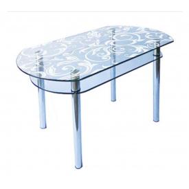 Стол обеденный стеклянный КС - 5 каленое стекло 10 мм пескоструй