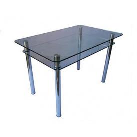 Стол обеденный прямоугольный с закругленными углами КС-1 каленное стекло 10 мм