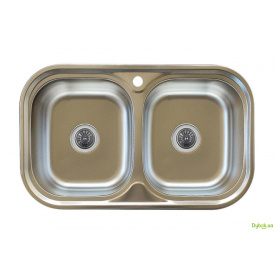 Мийка 7848D, врізна Заокругл. 780х480х180 Декор 0,8 см (з отвором під змішувач) Platinum