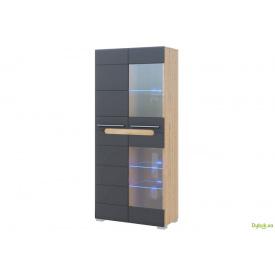 Шафа 2Д (скло) Бянко (графіт) Світ Меблів