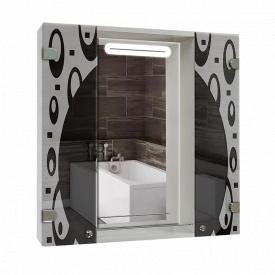 Шкаф-зеркало с LED подветкой 80x80x14см ШК818