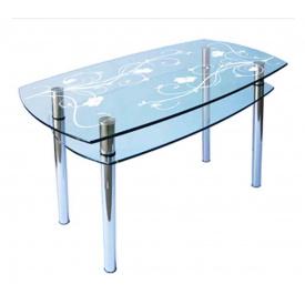 Стол обеденный прямоугольный с выпуклыми сторонами КС-2 каленое стекло 10 мм пескоструй