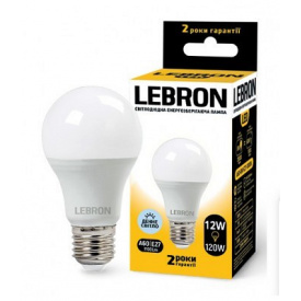 LED лампа Lebron L-A60 12W Е27 6500K 1100Lm кут 240°
