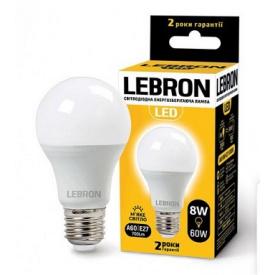 LED лампа Lebron L-A60 8W Е27 3000K 700Lm кут 240°