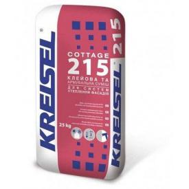 Клей для приклеювання та армування мінераловатних та пінополістирольних плит Kreisel Cottage 215, 25 кг