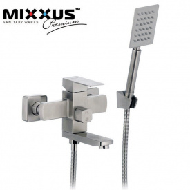 Смеситель для ванны короткий нос MIXXUS Kub (Chr-009), Польша (нержавеющая сталь)