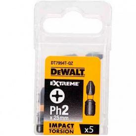 Биты ударные DeWALT IMPACT TORSION EXTREME Ph2, 25 мм, 5 шт (DT7994T)