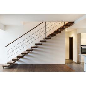 Лестница из металла прямая с перилами
