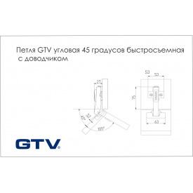 Петля GTV кутова 45 градусів швидкознімна c доводчиком з монтажною планкою 0 і заглушками