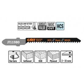 Пильне полотно СМТ для лобзика 50 76 відступ 2 (комплект 5 шт)