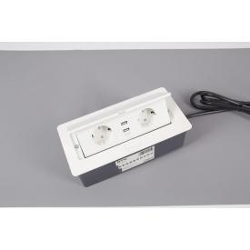 Настольный встраиваемый удлинитель GTV Soft на 2 вилки и 2 USB белый