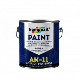 """Краска для бетонных полов АК-11 """"Композит"""" серая 1,0 кг"""
