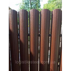 Забор двусторонний 0,45 мм мат коричневый (RAL 8017) (Италия)