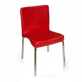 Стілець AMF Корсика Софт хром Перли № 04 метал пластик 52х48х78 см сріблястий червоний