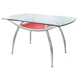 Стол AMF 936 каленое стекло металл 1350x800x760 мм хром красный