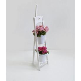 Деревянная подставка под цветы Холодная ковка Мольберт 1/2 белая