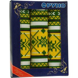 Набор кухонных полотенец Руно в подарочной упаковке Орнамент зеленый 35х70 см 3 шт