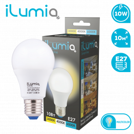 Светодиодная лампа ilumia 062 IL-10-A60-E27-3000K + 4000K + 6000K 1000Лм 10Вт с тремя типами температур