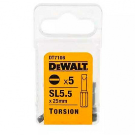 Набор бит DeWALT Slotted 5.5, 25 мм, 5 шт (DT7106)