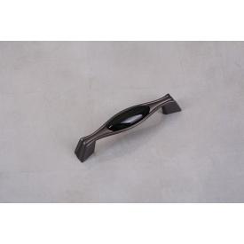 Ручка мебельная Falso Stile РК-848бронза темная с черной керамической вставкой