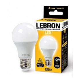 LED лампа Lebron L-A60 10W Е27 3000K 850Lm кут 240°