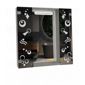 Шкаф-зеркало с LED подсветкой 80x80x14см ШК815