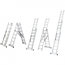 Лестница трехсекционная раскладная Flora 9 ступеней (5032334)