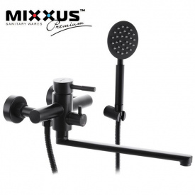 Смеситель для ванны длинный нос MIXXUS Sus Black EURO (Chr-006), Польша (нержавеющая сталь)