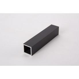 Труба квадратная пустотелая алюминиевая анодированная 20х20 мм черная для мебельных конструкций 5,95 м