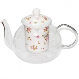 Чайник заварочный O'Lens стеклянный с фарфоровым ситом Розочка 850 мл