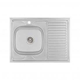 Кухонная мойка Lidz 6080-L 0,6 мм Satin (LIDZ6080L06SAT)