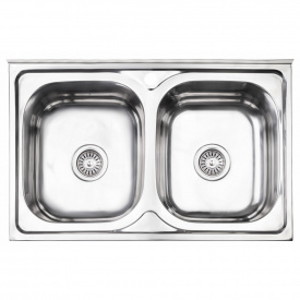 Кухонная мойка с двумя чашами Lidz 5080 0,8 мм Polish (LIDZ5080LPOL06)