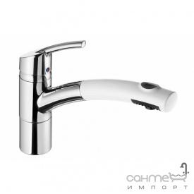 Кухонный смеситель с выдвижным душем SystemCeram Trento Star shower 112/1319 Хром+Groenland/Polar