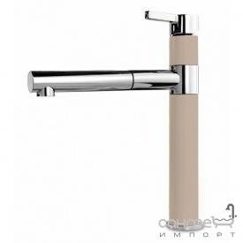 Кухонный смеситель с выдвижным душем SystemCeram Snella shower 112/1376 Хром+Groenland/Polar