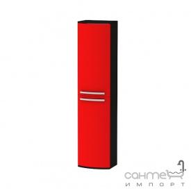 Пенал для ванной комнаты подвесной Botticelli Vanessa VNP-170 фасад красный глянец корпус черный глянец