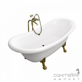 Отдельностоящая ванна на ножках Besco PMD Piramida Amelia 190x77 белая, ножки бронза