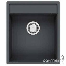 Гранітна кухонна мийка універсального монтажу Fabiano Cubix 44x52 Antracit чорна