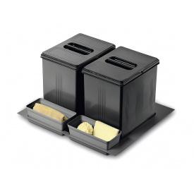 Система утилизации мусора фасад 600 Inoxa 97DA/602 ардезия 1 поддон 2 ведра 16 л 2 лотка