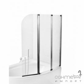 Шторка для ванны Besco PMD Piramida Ambition-3 123х140 профиль хром стекло прозрачное
