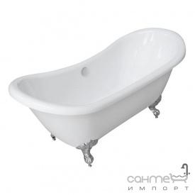 Акрилова ванна окрема Volle біла на срібних ніжках з сифоном (12-22-314)