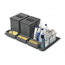 Система утилизации мусора фасад 900 Inoxa 97DA/902D ардезия 1 поддон 2 ведра 16 л 3 лотка 2 корзины