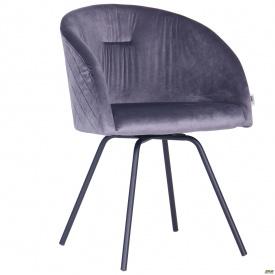 Кресло поворотное Sacramentoчерный/велюр серый
