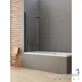 Шторка для ванни New Trendy New Soleo Black P-0043 L чорна / прозоре скло лівостороння