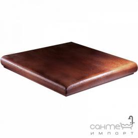 Клинкерная плитка ступень угловая 33x33 Gres de Aragon Albany Esquina Siena коричневая
