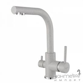 Гранитный смеситель для кухни с подключением к фильтру AquaSanita 2663-220 аргент