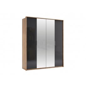 Шкаф Luna четырехдверный лава/дуб крафт с зеркалами