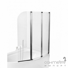 Шторка для ванны Besco PMD Piramida Ambition-3 123х140 хром стекло прозрачное