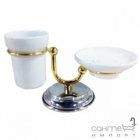 Мыльница и стакан на подставке Pacini & Saccardi Oggetti Appoggio 30122/CO хром/золото